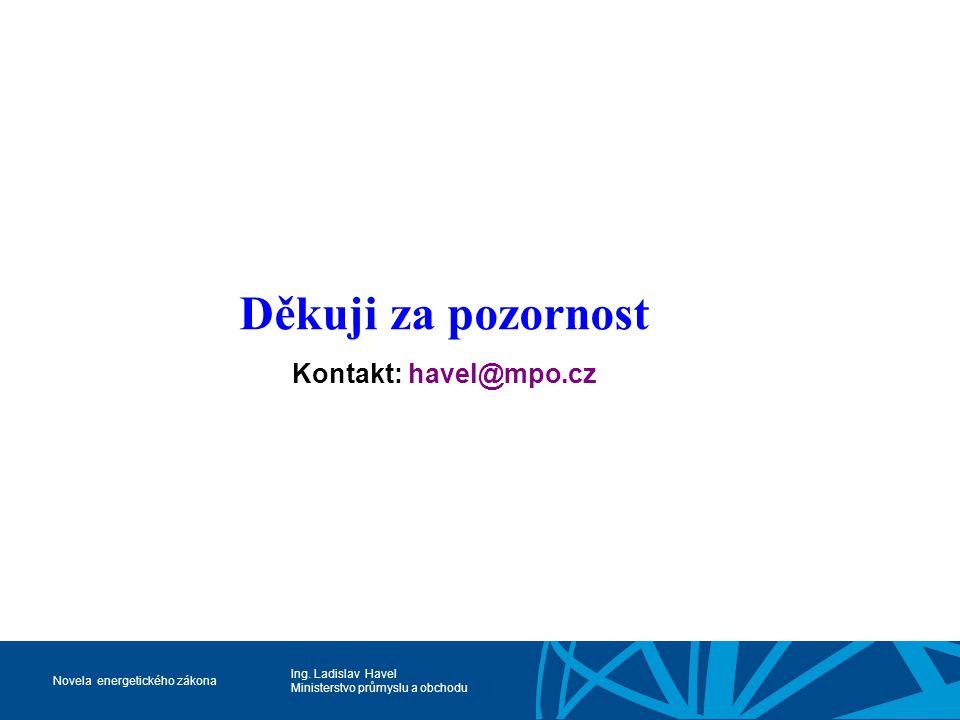 Děkuji za pozornost Kontakt: havel@mpo.cz