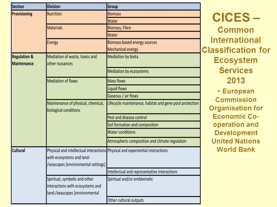 CICES – Common International Classification for Ecosystem Services 2013 - European Commission Organisation for Economic Co-operation and Development United Nations World Bank