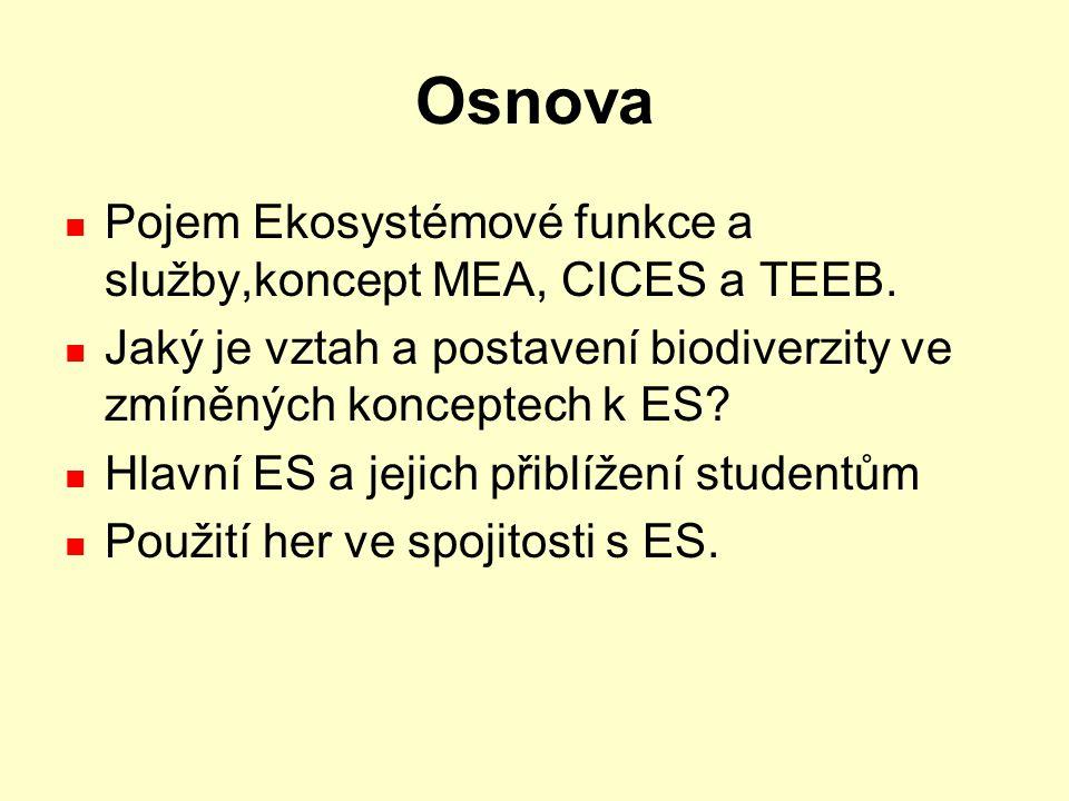 Osnova Pojem Ekosystémové funkce a služby,koncept MEA, CICES a TEEB.