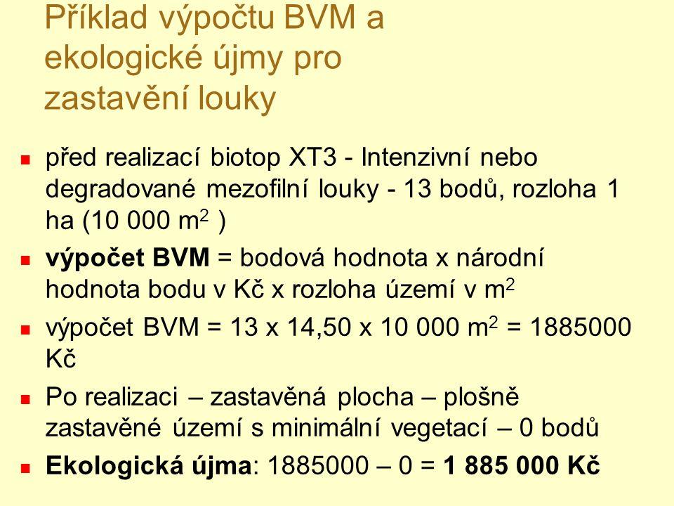 Příklad výpočtu BVM a ekologické újmy pro zastavění louky