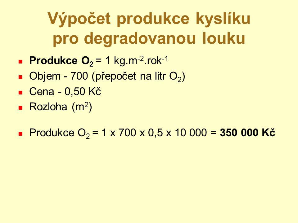 Výpočet produkce kyslíku pro degradovanou louku