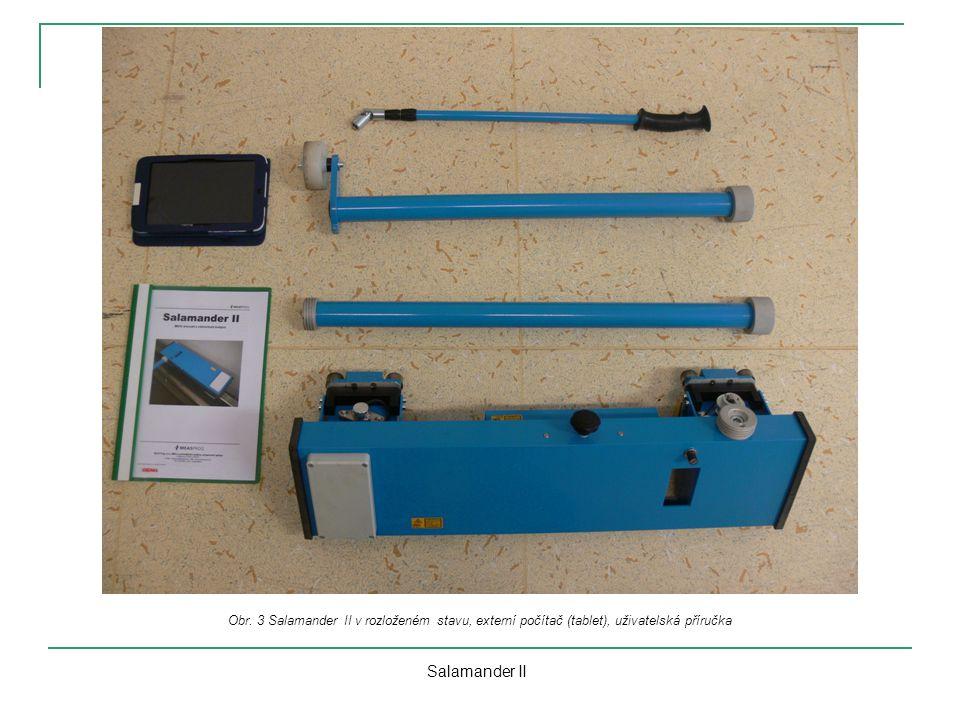 Obr. 3 Salamander II v rozloženém stavu, externí počítač (tablet), uživatelská příručka