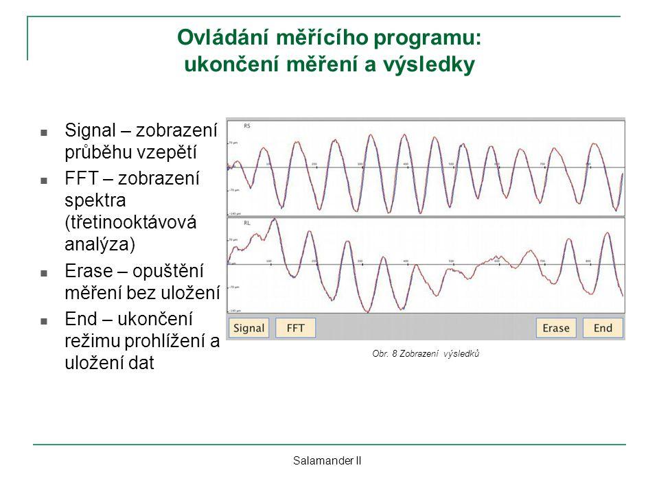 Ovládání měřícího programu: ukončení měření a výsledky