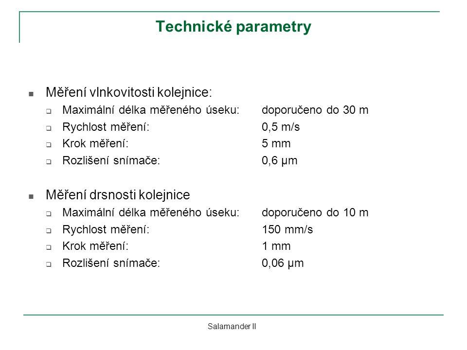 Technické parametry Měření vlnkovitosti kolejnice: