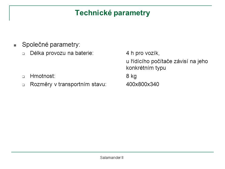 Technické parametry Společné parametry: