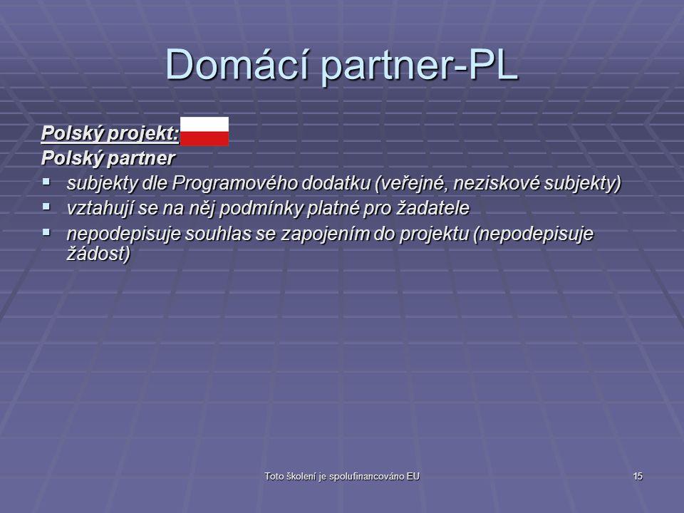 Toto školení je spolufinancováno EU