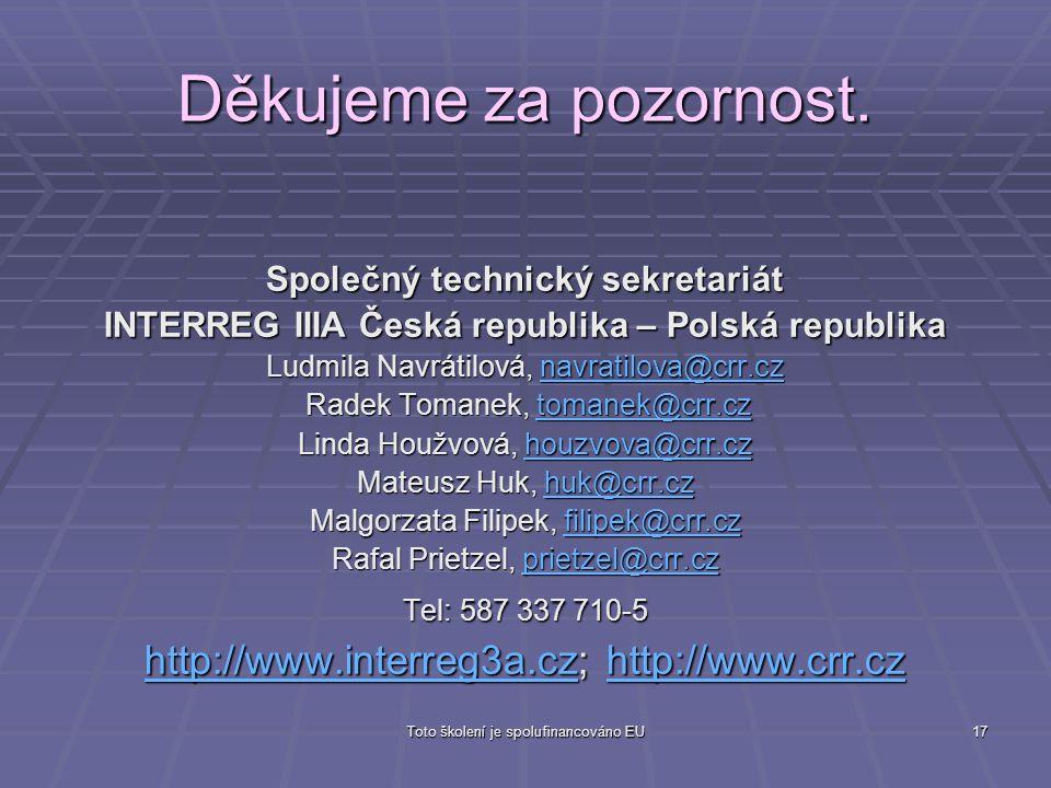 Děkujeme za pozornost. http://www.interreg3a.cz; http://www.crr.cz