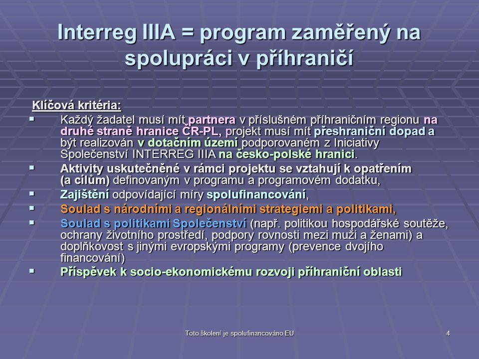 Interreg IIIA = program zaměřený na spolupráci v příhraničí