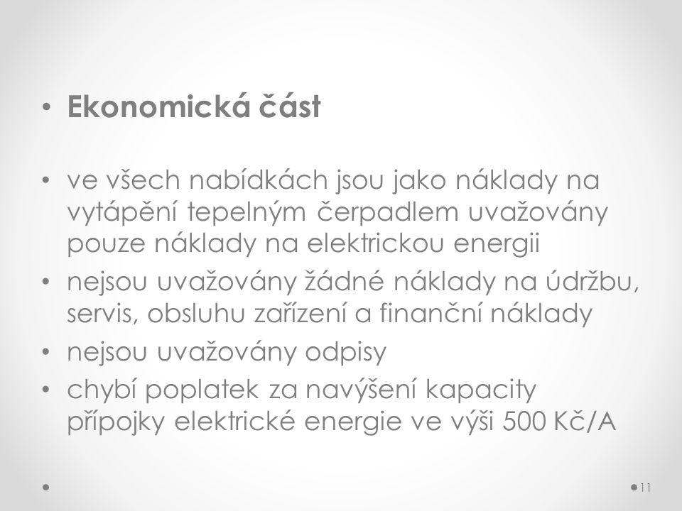 Ekonomická část ve všech nabídkách jsou jako náklady na vytápění tepelným čerpadlem uvažovány pouze náklady na elektrickou energii.