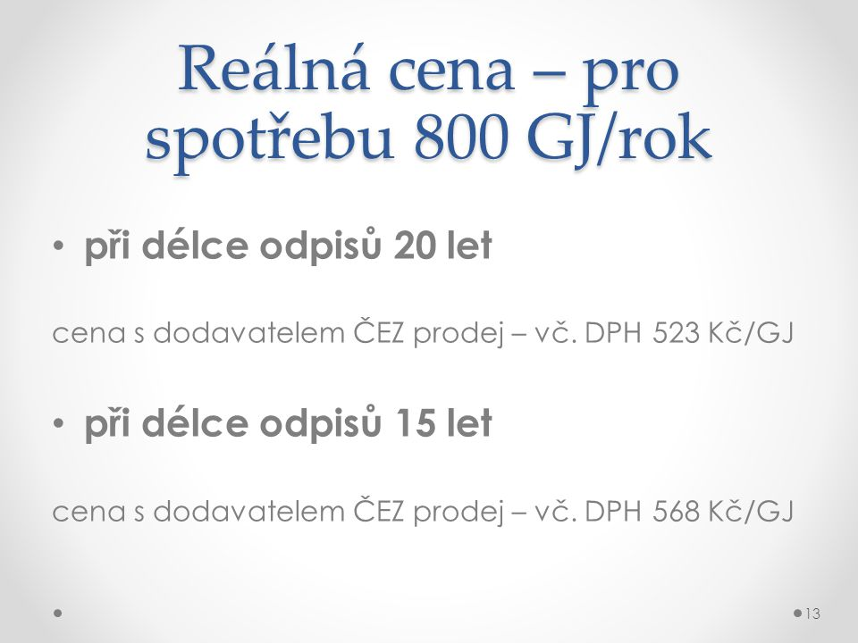 Reálná cena – pro spotřebu 800 GJ/rok
