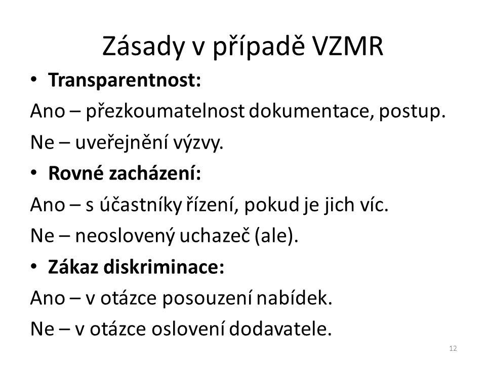 Zásady v případě VZMR Transparentnost: