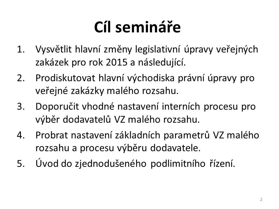 Cíl semináře Vysvětlit hlavní změny legislativní úpravy veřejných zakázek pro rok 2015 a následující.