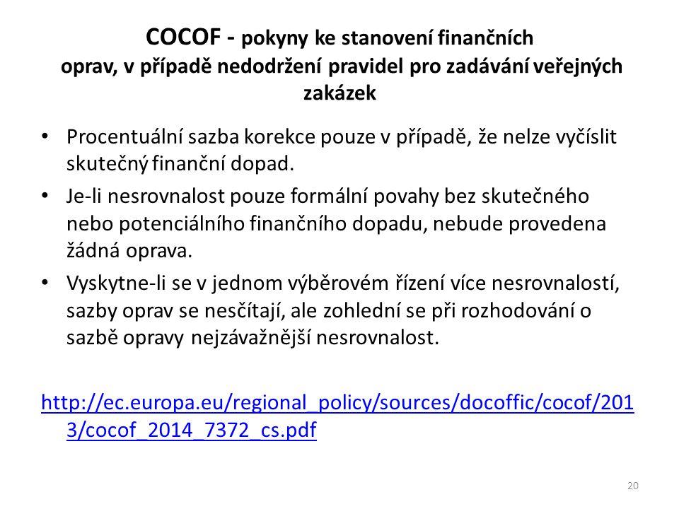 COCOF - pokyny ke stanovení finančních oprav, v případě nedodržení pravidel pro zadávání veřejných zakázek