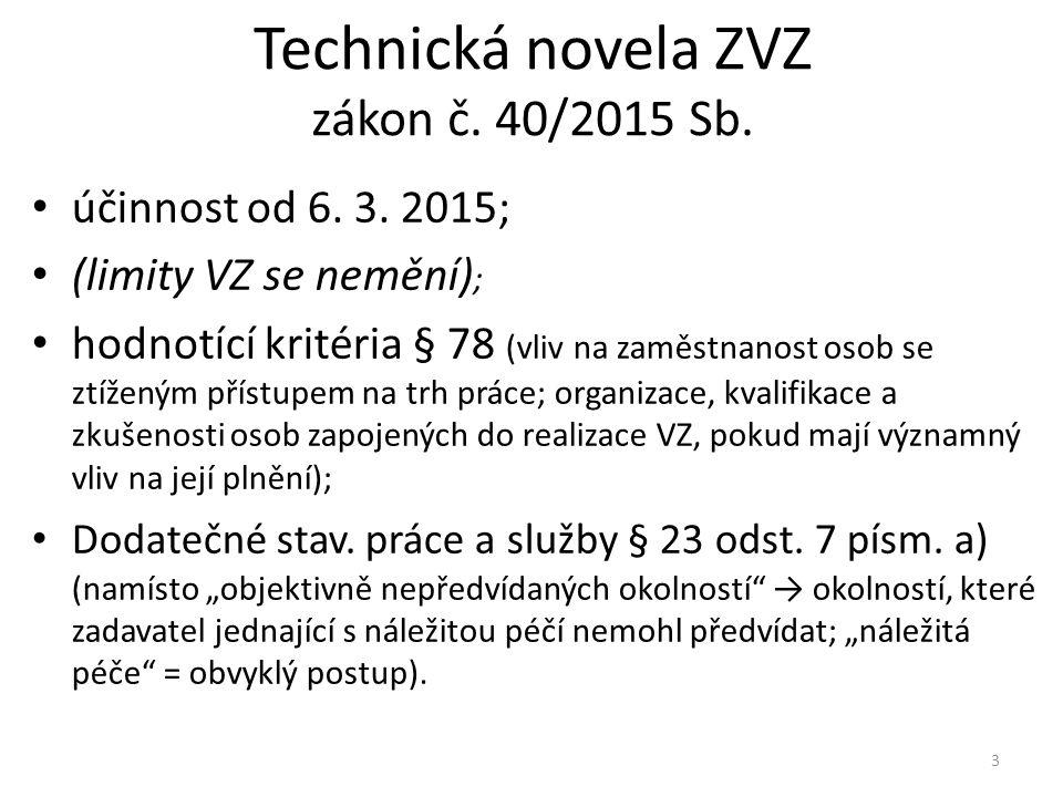 Technická novela ZVZ zákon č. 40/2015 Sb.