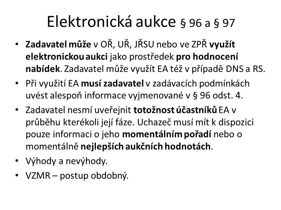 Elektronická aukce § 96 a § 97