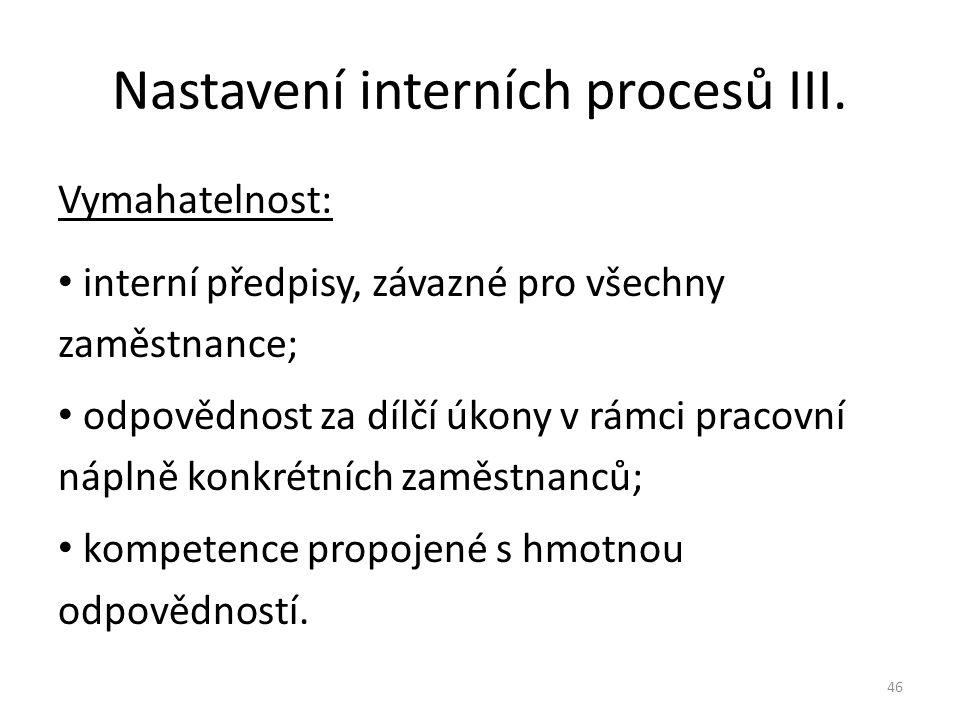 Nastavení interních procesů III.