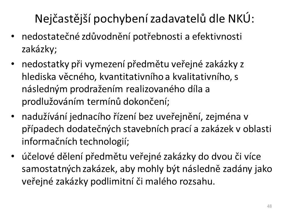 Nejčastější pochybení zadavatelů dle NKÚ: