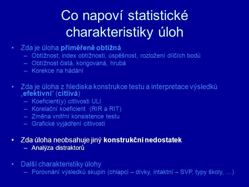 Co napoví statistické charakteristiky úloh