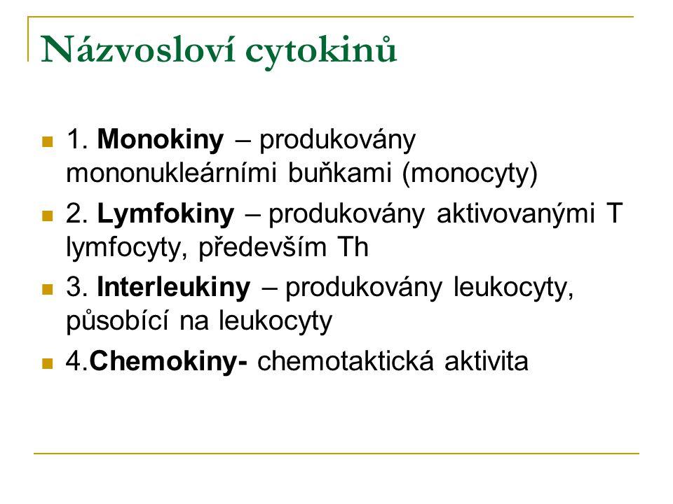 Názvosloví cytokinů 1. Monokiny – produkovány mononukleárními buňkami (monocyty) 2. Lymfokiny – produkovány aktivovanými T lymfocyty, především Th.