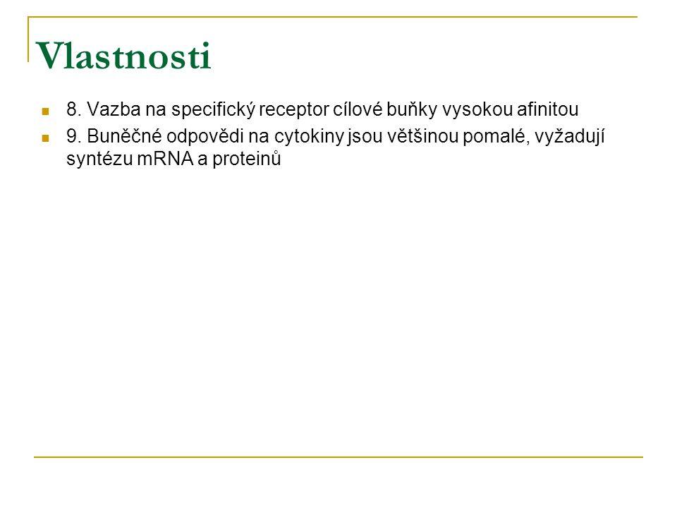 Vlastnosti 8. Vazba na specifický receptor cílové buňky vysokou afinitou.