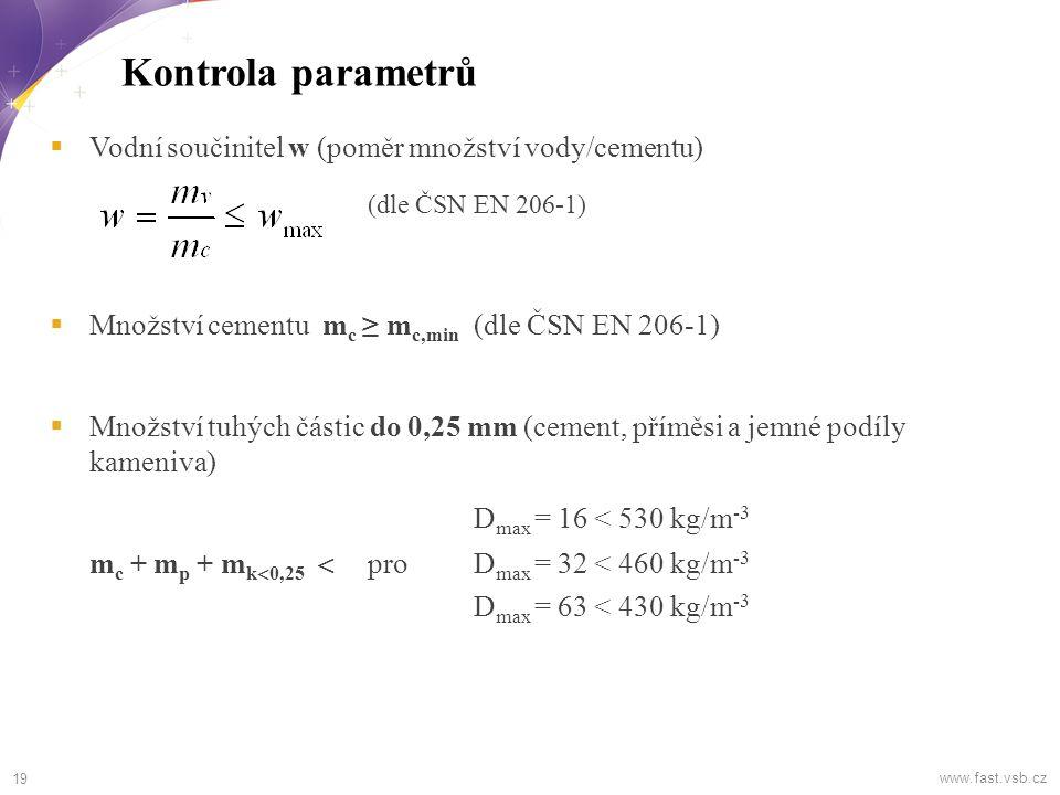 Kontrola parametrů (dle ČSN EN 206-1) Dmax = 16 < 530 kg/m-3