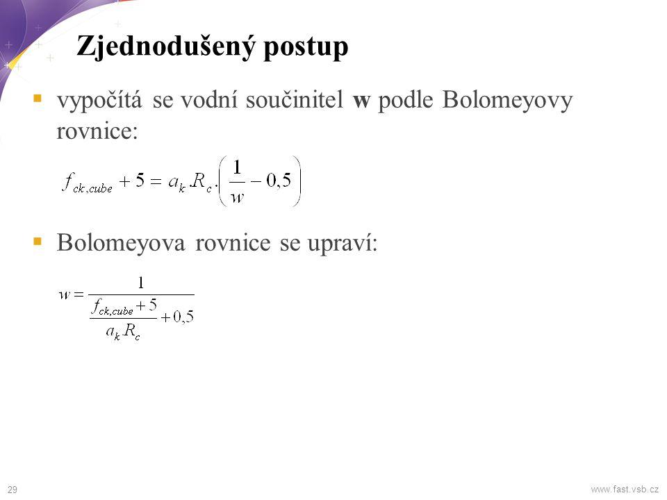 Zjednodušený postup vypočítá se vodní součinitel w podle Bolomeyovy rovnice: Bolomeyova rovnice se upraví:
