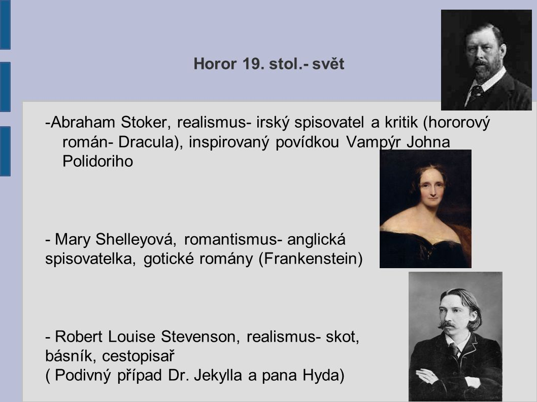 Horor 19. stol.- svět -Abraham Stoker, realismus- irský spisovatel a kritik (hororový román- Dracula), inspirovaný povídkou Vampýr Johna Polidoriho.