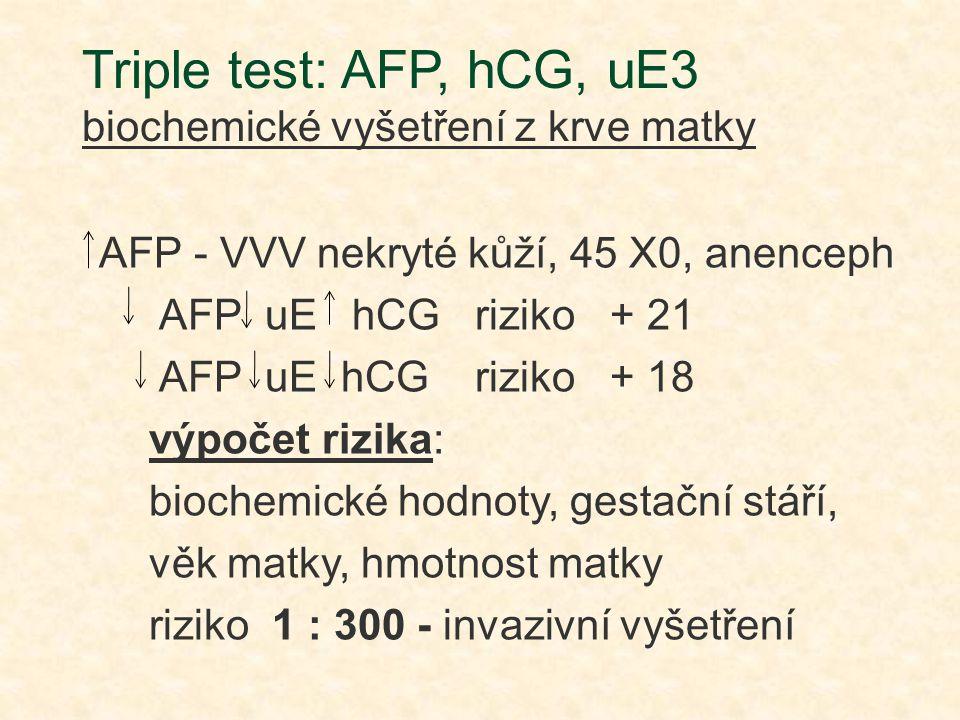 Triple test: AFP, hCG, uE3 biochemické vyšetření z krve matky