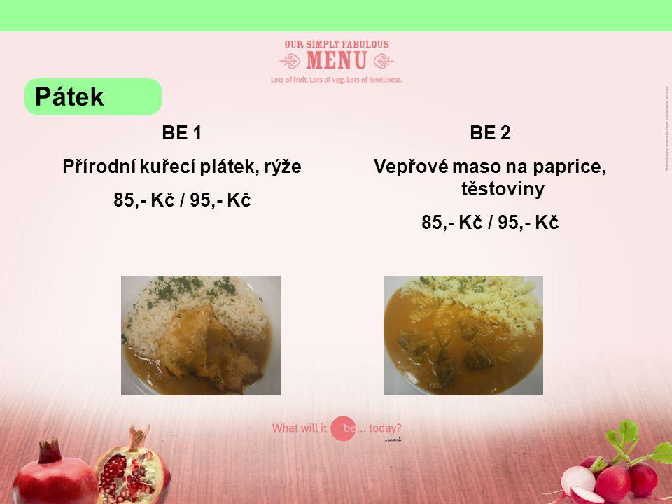 Přírodní kuřecí plátek, rýže Vepřové maso na paprice, těstoviny