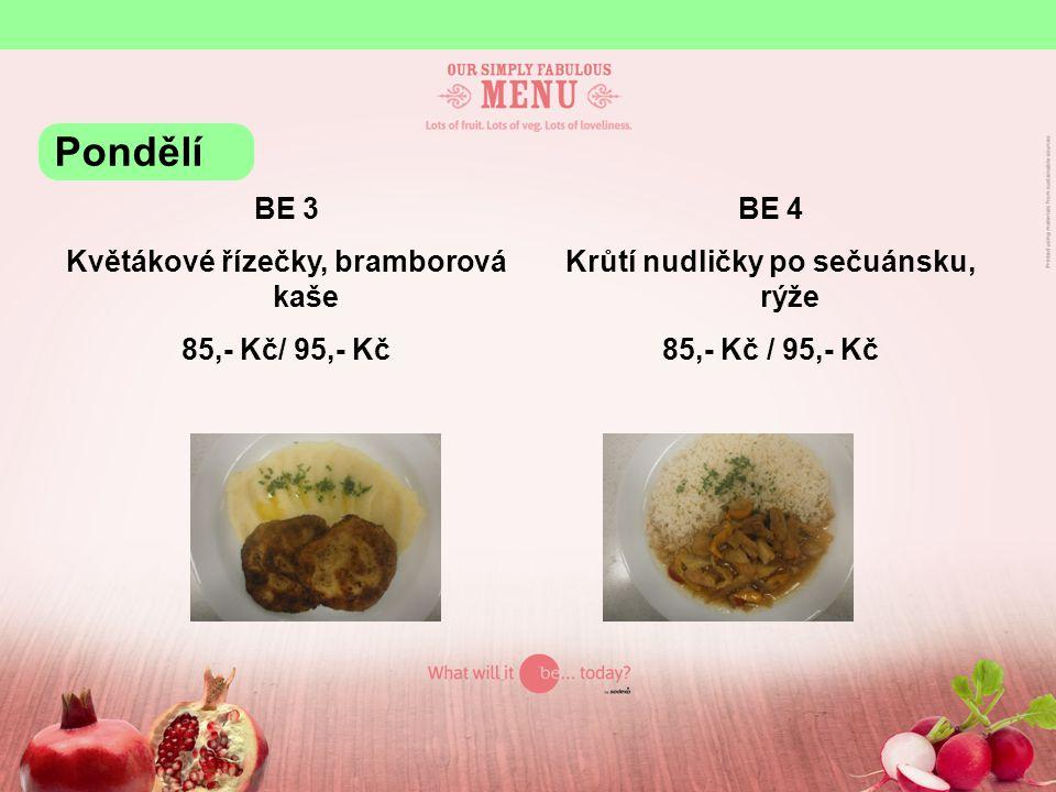 Květákové řízečky, bramborová kaše Krůtí nudličky po sečuánsku, rýže