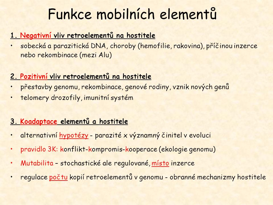 Funkce mobilních elementů
