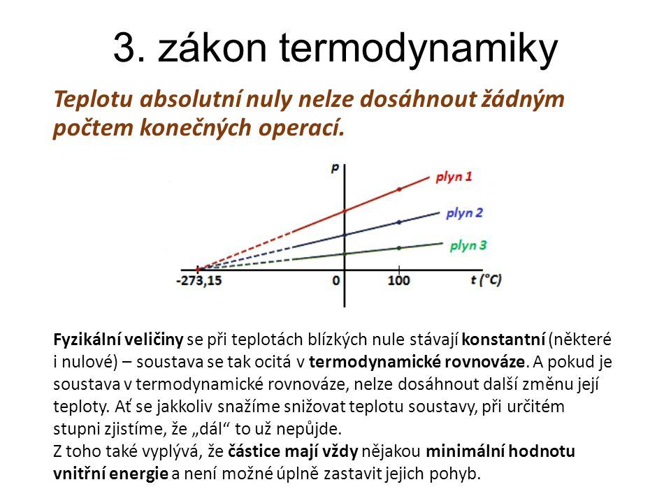 3. zákon termodynamiky Teplotu absolutní nuly nelze dosáhnout žádným počtem konečných operací.