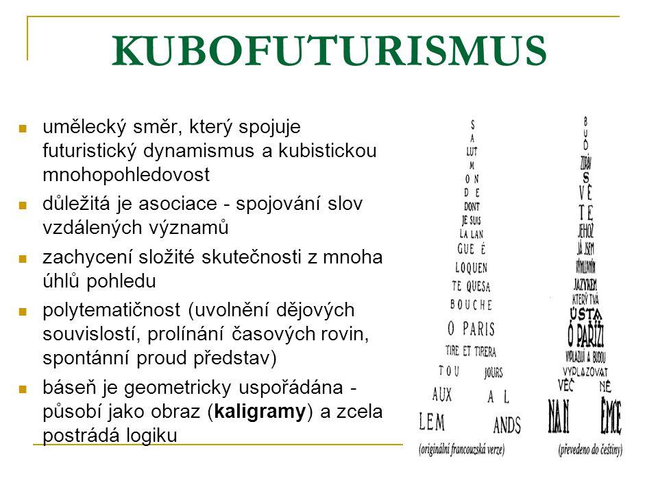 KUBOFUTURISMUS umělecký směr, který spojuje futuristický dynamismus a kubistickou mnohopohledovost.