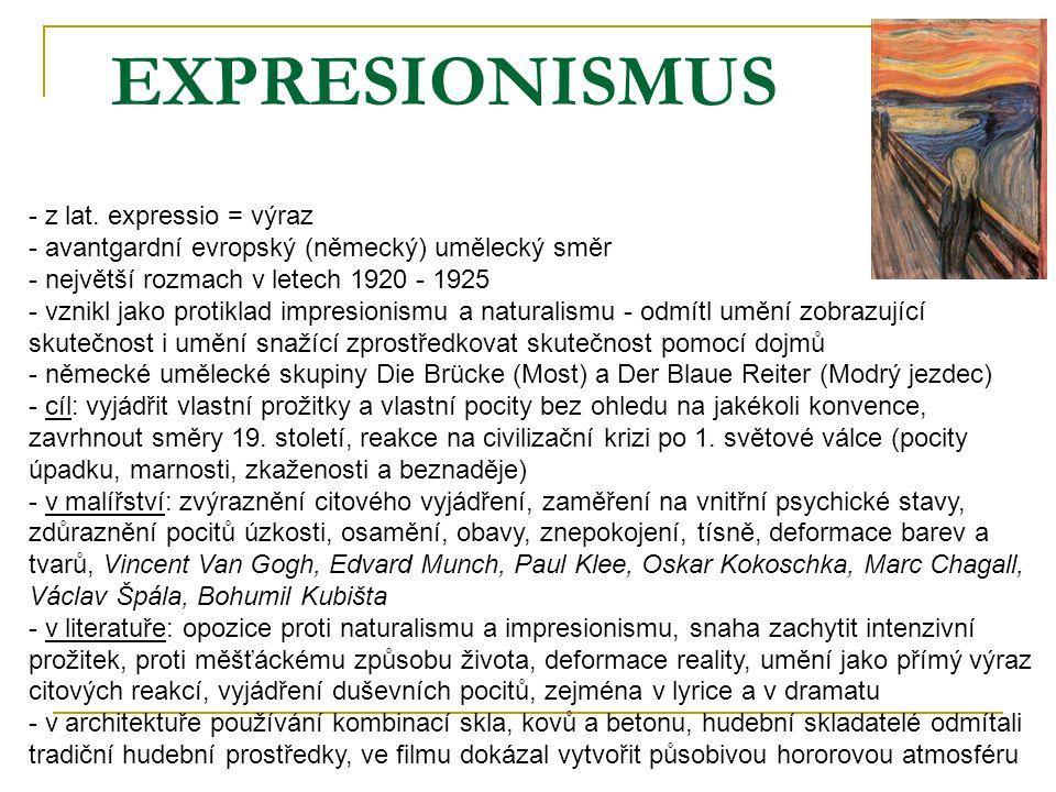 EXPRESIONISMUS z lat. expressio = výraz