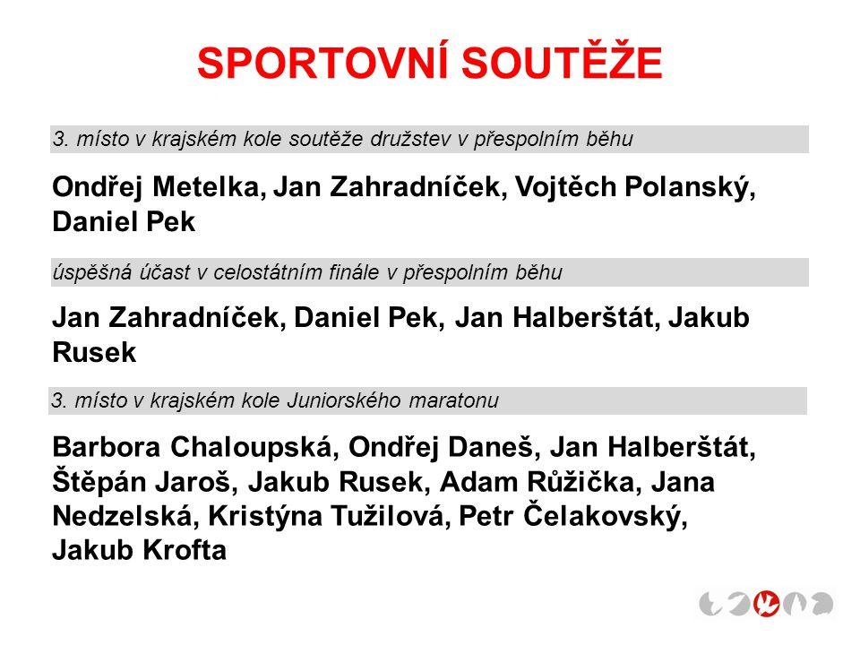 SPORTOVNÍ SOUTĚŽE 3. místo v krajském kole soutěže družstev v přespolním běhu. Ondřej Metelka, Jan Zahradníček, Vojtěch Polanský, Daniel Pek.