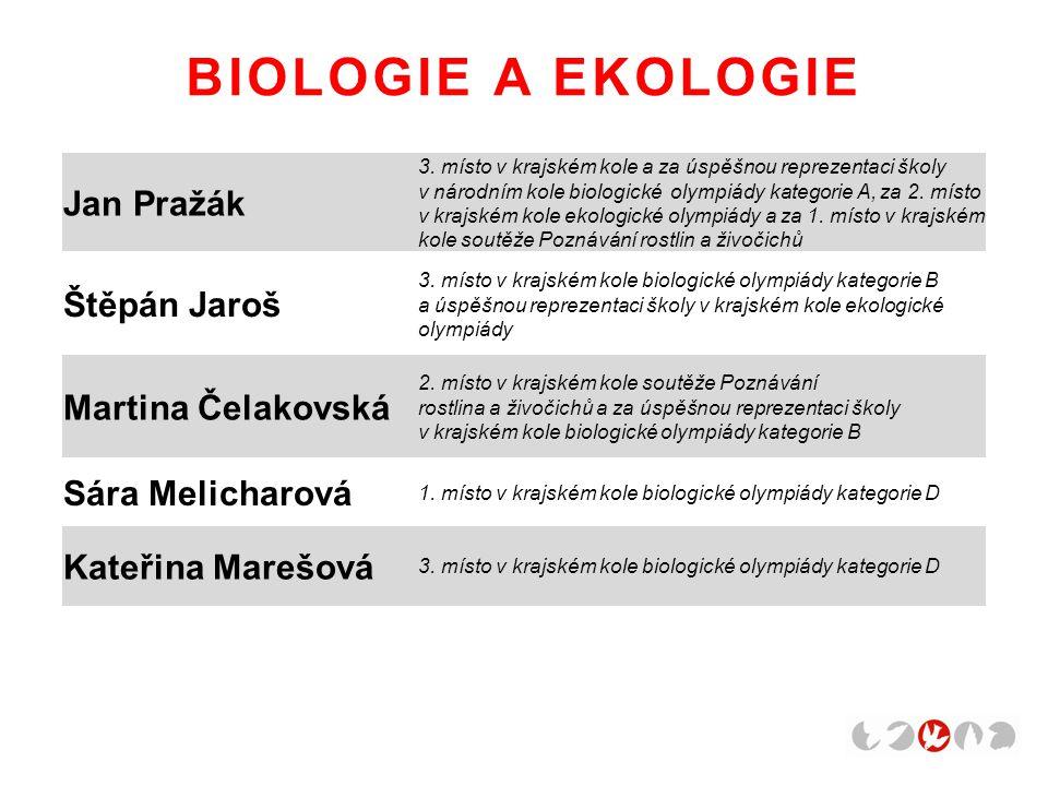 BIOLOGIE A EKOLOGIE Jan Pražák Štěpán Jaroš Martina Čelakovská