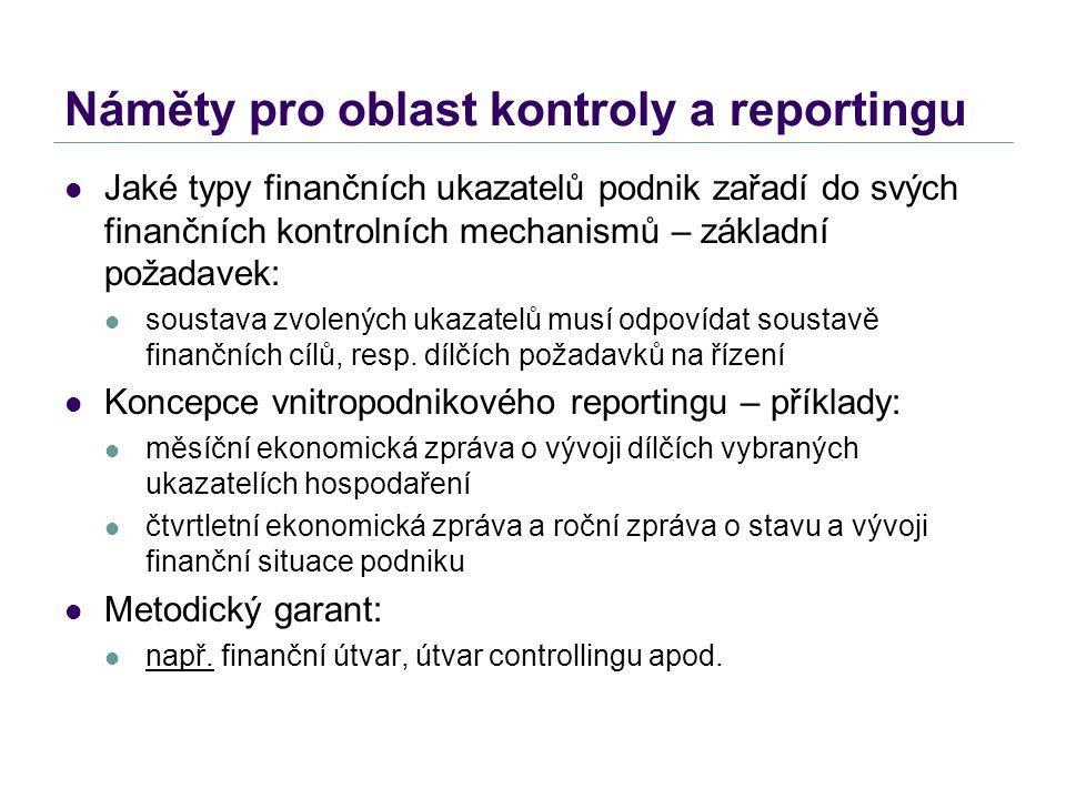 Náměty pro oblast kontroly a reportingu