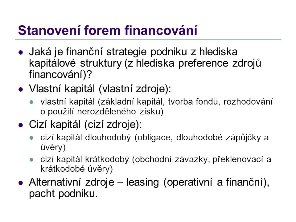 Stanovení forem financování