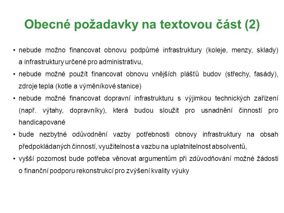Obecné požadavky na textovou část (2)