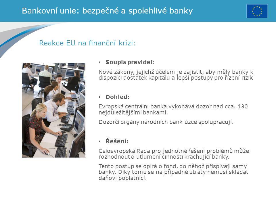 Bankovní unie: bezpečné a spolehlivé banky