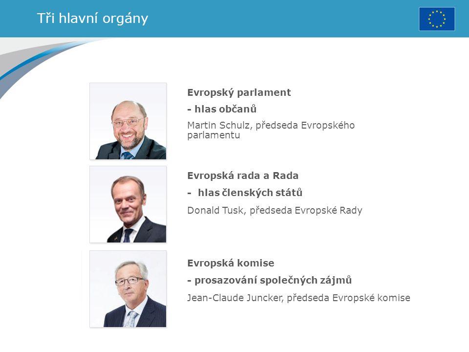 Tři hlavní orgány Evropský parlament - hlas občanů Martin Schulz, předseda Evropského parlamentu