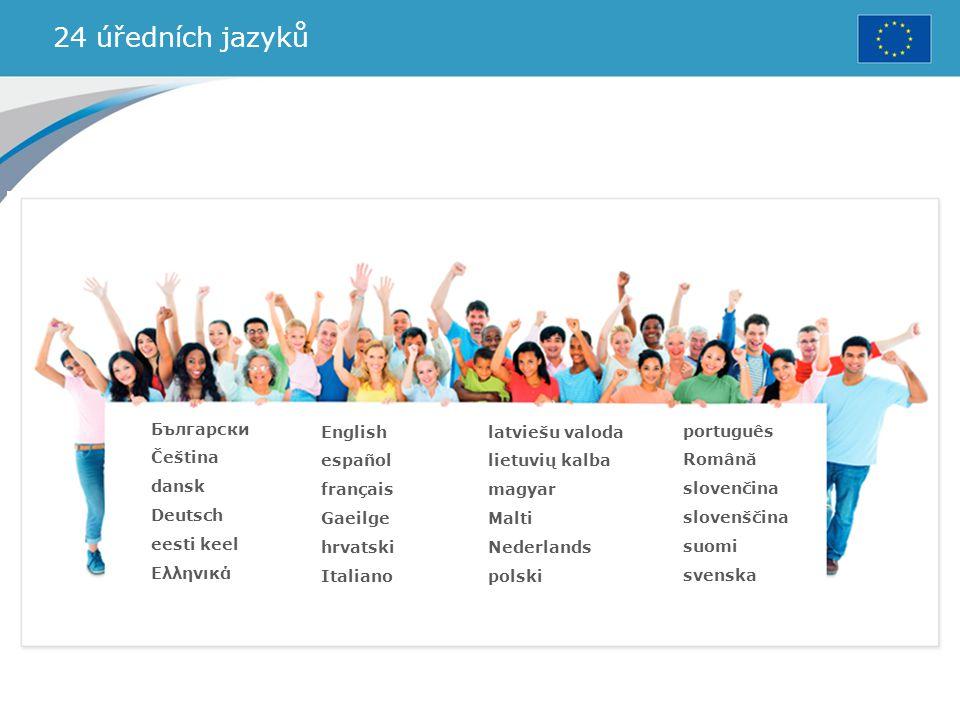 24 úředních jazyků Български Čeština dansk Deutsch eesti keel Ελληνικά
