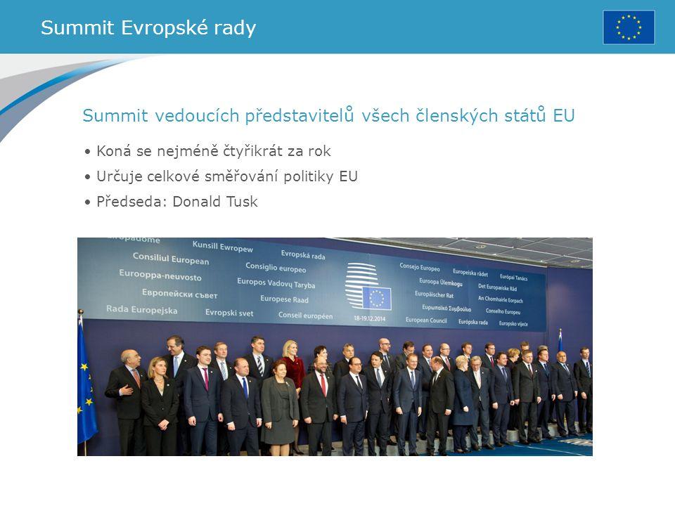 Summit Evropské rady Summit vedoucích představitelů všech členských států EU. Koná se nejméně čtyřikrát za rok.