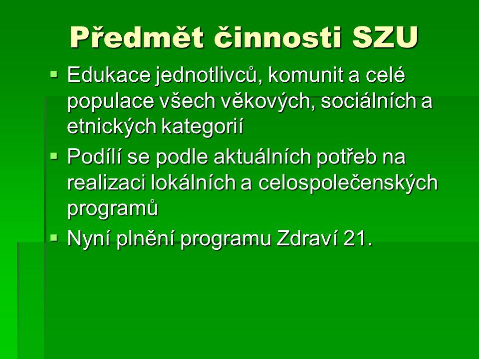 Předmět činnosti SZU Edukace jednotlivců, komunit a celé populace všech věkových, sociálních a etnických kategorií.