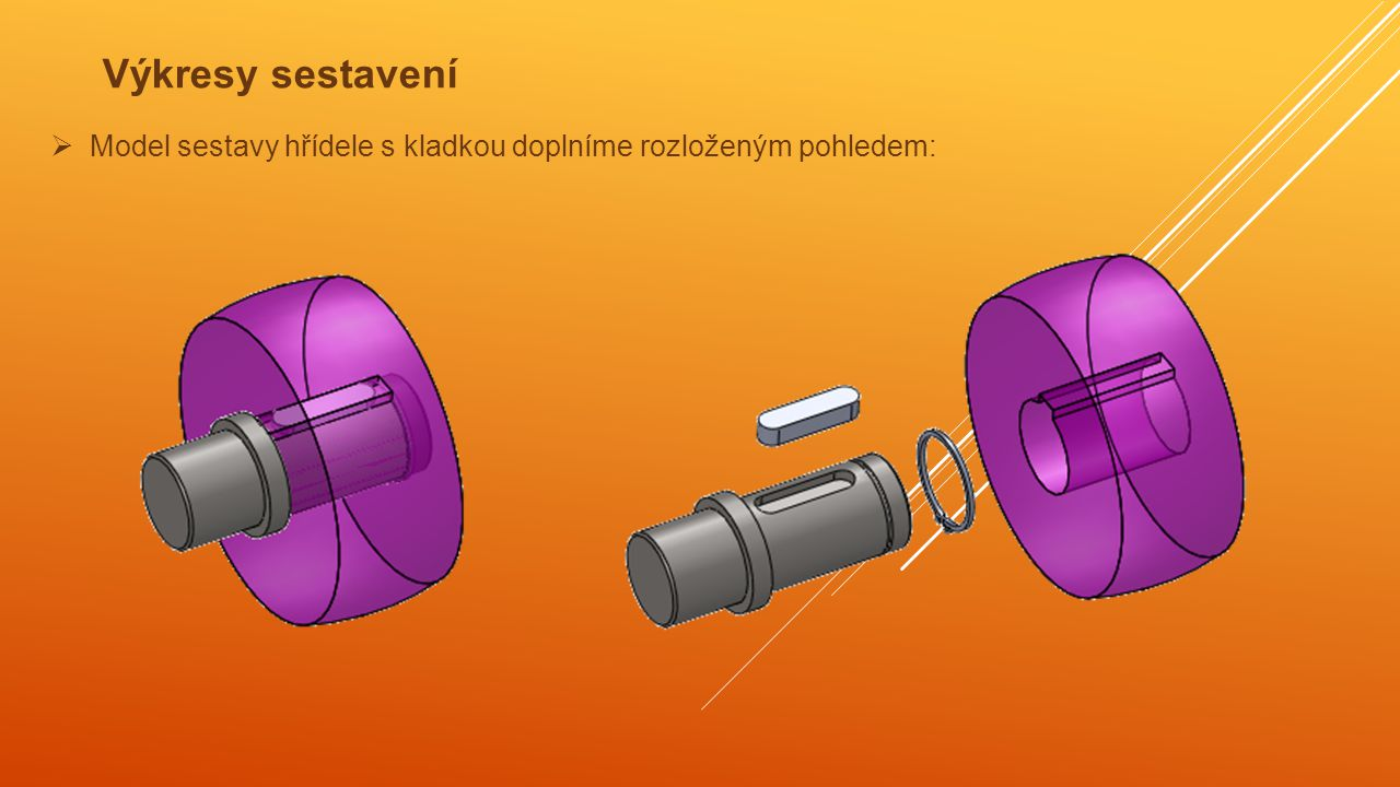 Výkresy sestavení Model sestavy hřídele s kladkou doplníme rozloženým pohledem: