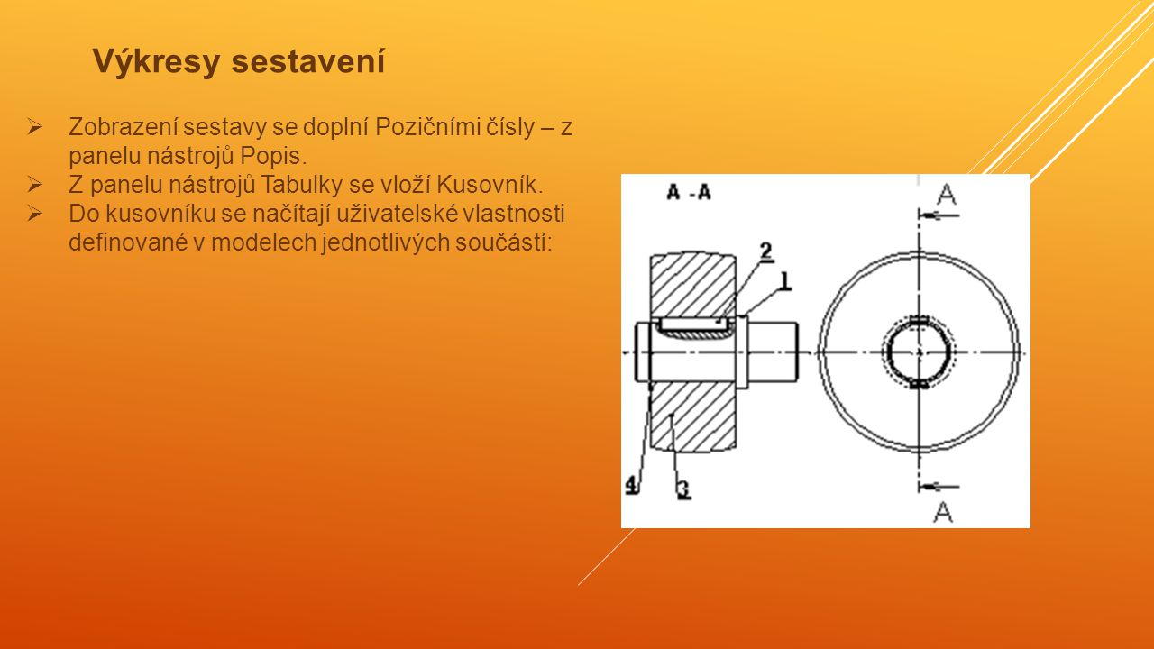 Výkresy sestavení Zobrazení sestavy se doplní Pozičními čísly – z panelu nástrojů Popis. Z panelu nástrojů Tabulky se vloží Kusovník.