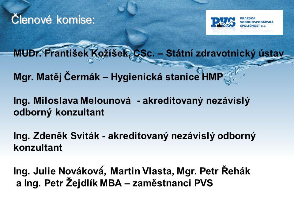 Členové komise: MUDr. František Kožíšek, CSc. – Státní zdravotnický ústav. Mgr. Matěj Čermák – Hygienická stanice HMP.