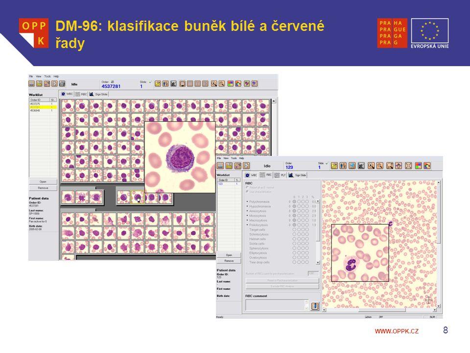 DM-96: klasifikace buněk bílé a červené řady