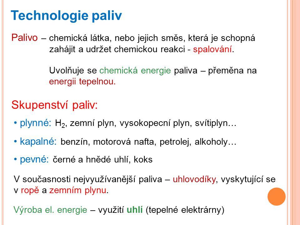 Technologie paliv Skupenství paliv: