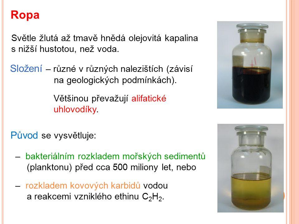 Ropa Světle žlutá až tmavě hnědá olejovitá kapalina s nižší hustotou, než voda.